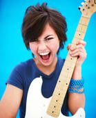 female guitarist with guitar